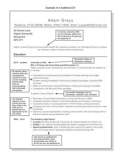example of a traditional cv