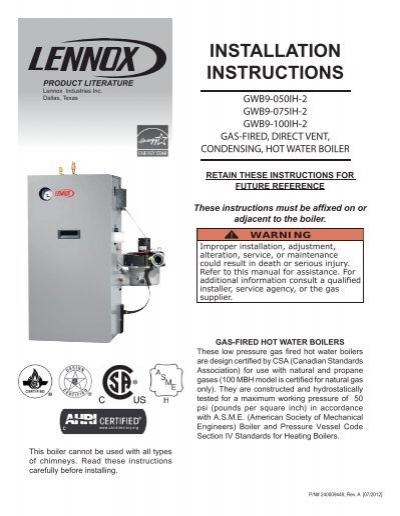 GWB9-IH Boiler Installation Manual - Lennox