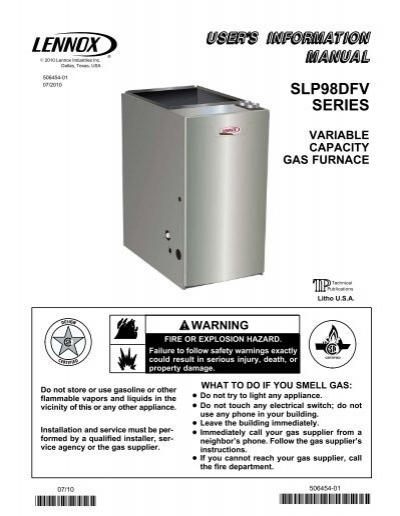 slp298dfv gas furnace homeowners manual lennox rh yumpu com York Gas Furnace Models lennox gas furnace installation manual