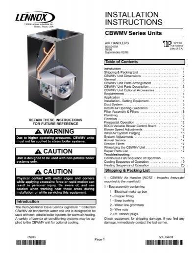cbwmv air handler installation manual lennox. Black Bedroom Furniture Sets. Home Design Ideas