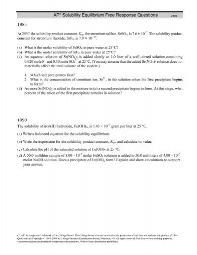 Solubility Equilibrium Fr Worksheet Mcpapchemistry