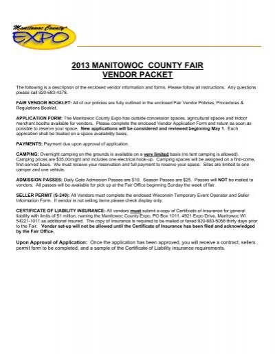 Vendor Application Manitowoc County Expo