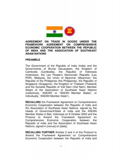 Asean India Trade In Goods Agreement