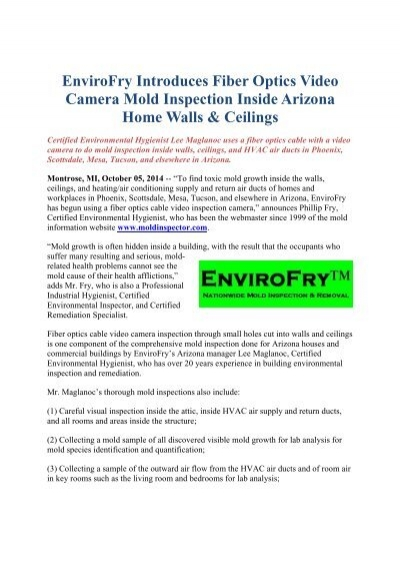 envirofry introduces fiber optics  camera mold inspection ...