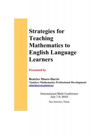 Strategies For Teaching Mathematics To English Language Learners
