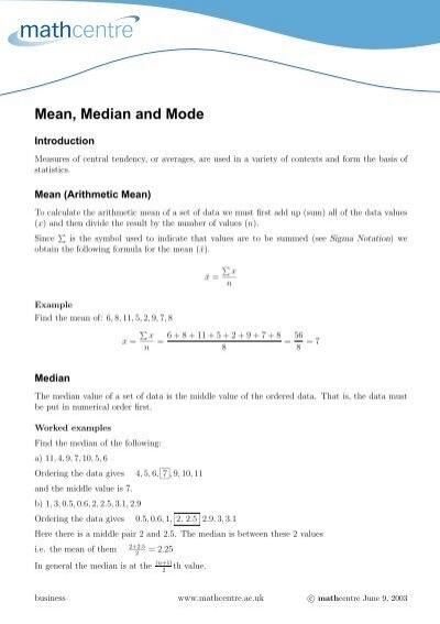 Calculating The Mean Median And Mode Worksheet Statstutor
