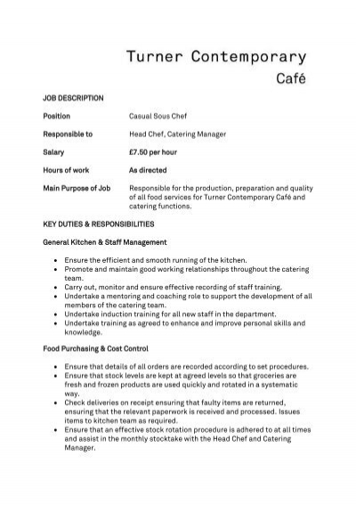 general manager food service job description description position casual sous chef responsible to 15219