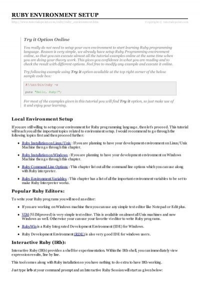 Ruby Environment Setup - Tutorials Point