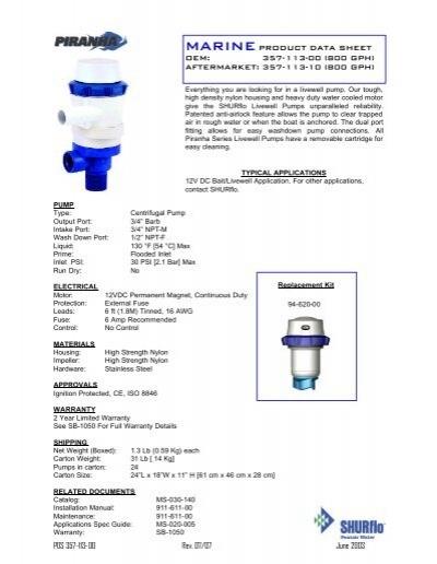SHURFLO PIRANHA Livewell 800 Pump 12 VDC 800 GPH 357-113-10