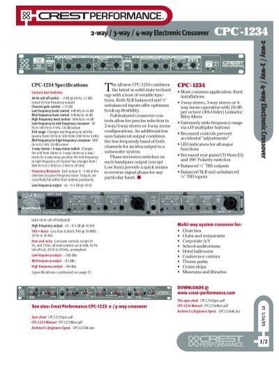 XD 3/4 Stereo/Mono Crossover - Peavey