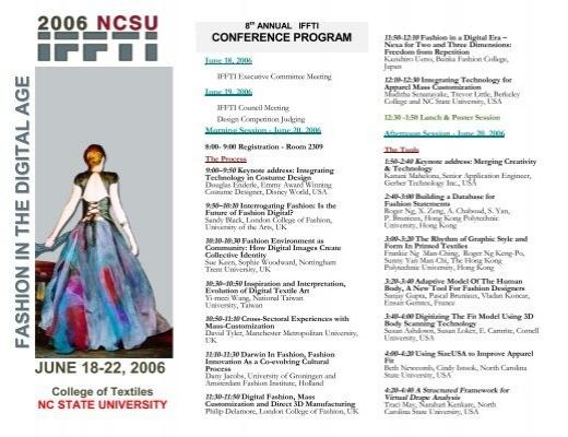 Conference Program College Of Textiles North Carolina