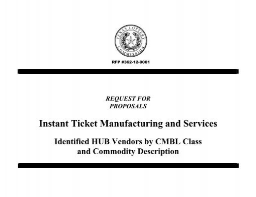 RFP for Instant Ticket Manufacturing and Services - Texas Lottery