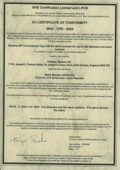BRE Certification Limited & LPCB EC Certificate Of Conformity