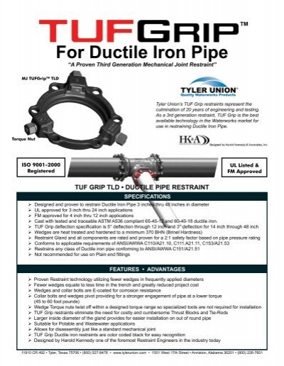 For ductile iron pipe tyler union