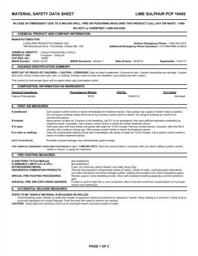 MATERIAL SAFETY DATA SHEET LIME SULPHUR PCP 16465 - UAP