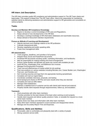 Hr Intern Job Description Tasks Qualifications Skills And Abilities