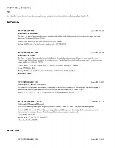 Math 103b Winter 2020.Courses Actuarial Science Undergraduate Calendar