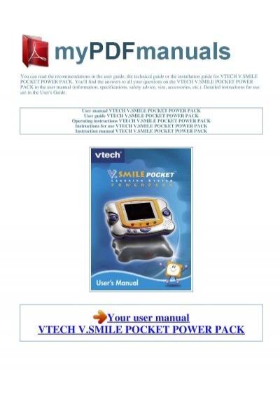 user manual vtech v smile pocket power pack 1 rh yumpu com VTech V.Smile vtech vsmile pocket instruction manual