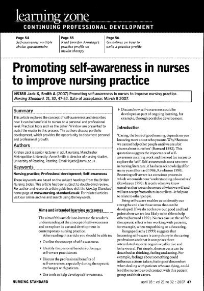 essay on self awareness in nursing Enhance your self-awareness regarding the facets of self-awareness and leadership in nursingdeveloping self-aware mindfulness to manage countertransference in the.