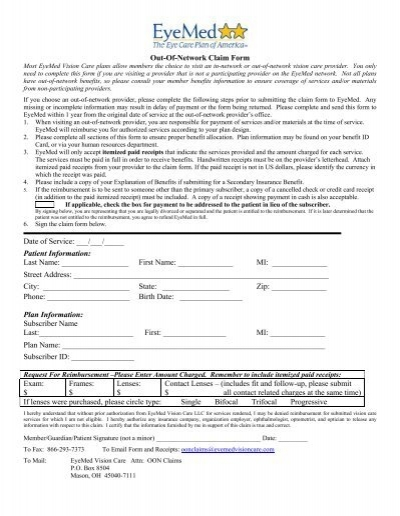 Eyemed out of network claim form pdf