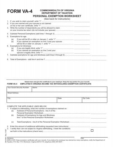 Personal Exemption Worksheet