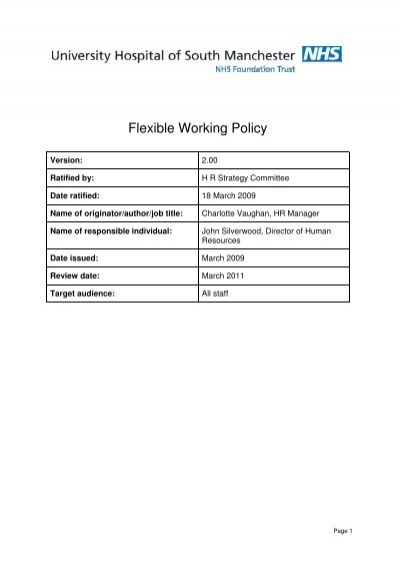 Flexible Working Policy V2 00 pdf - UHSM