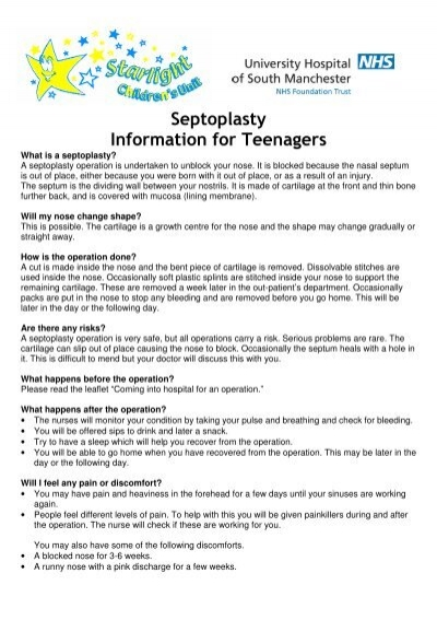 Septoplasty Information for Teenagers - UHSM