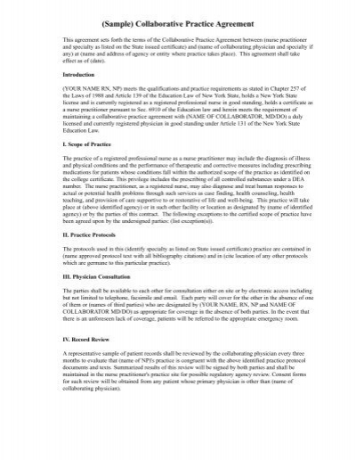 Sample collaborative practice agreement for Collaboration contract template