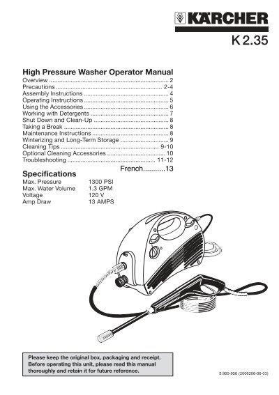 high pressure washer operator manual r j bowers distributors inc rh yumpu com Pressure Washer Repair Manuals Pressure Washer Pump Parts