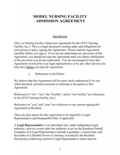 Model Nursing Facility Admission Agreement University Of