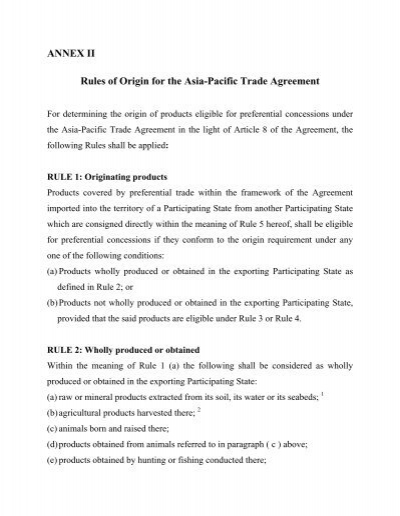 Rules Of Origin For The Asia Pacific Trade Agreement Escap