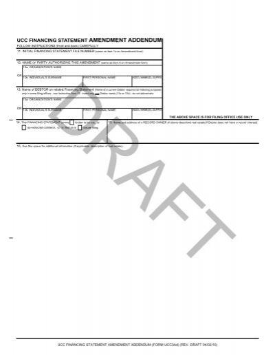 ucc financing statement amendment addendum - Uniform Law ...