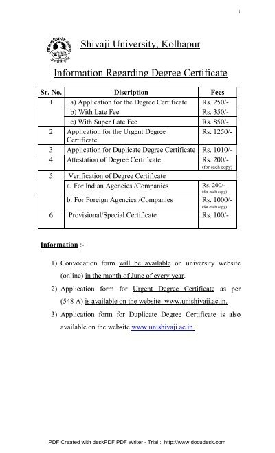Degree Certificate - Shivaji University