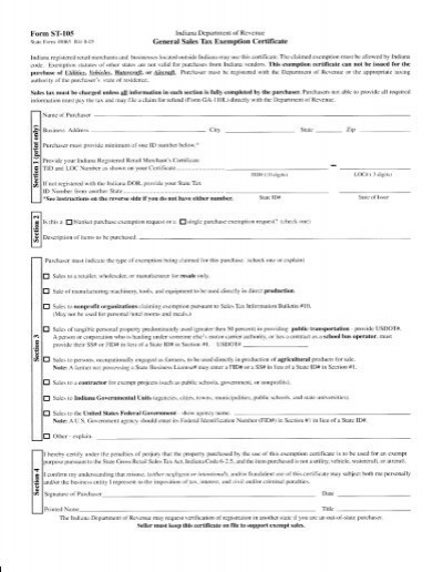 Form ST-4, Exempt Use Certificate - The Iris Companies