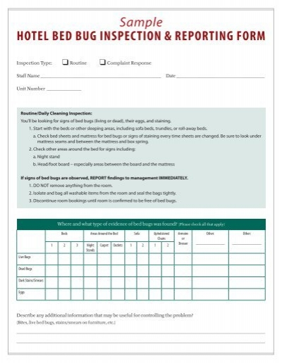 sample hotel bed bug inspection  u0026 reporting form