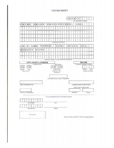 POPI SEC Form 20-IS - Prime Orion Philippines, Inc