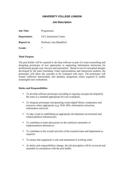 University College London Job Description Job Title    Uclic