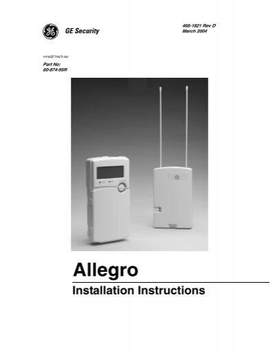 ge allegro install manual protectron security systems rh yumpu com GE Manual 7-4801A GE Refrigerator Manual