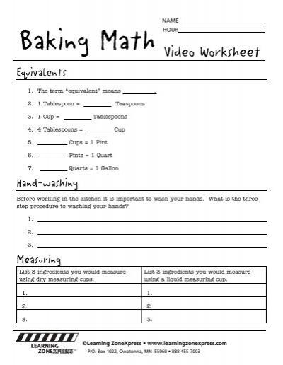 Baking Math Worksheets Learning Zone