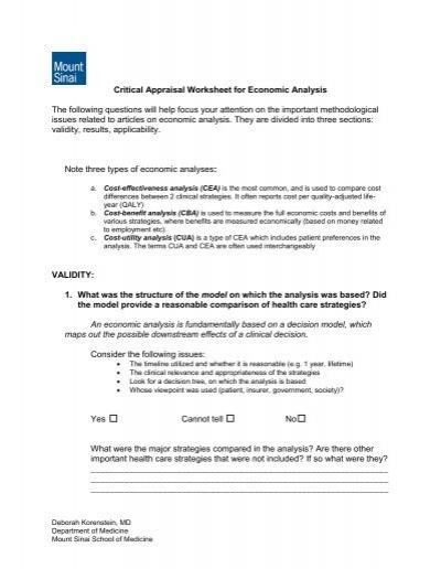 critical appraisal worksheet for economic analysis sgim. Black Bedroom Furniture Sets. Home Design Ideas