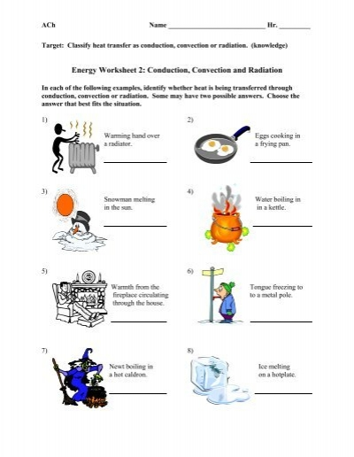 Printables Conduction Convection Radiation Worksheet ach energy worksheet 2 conduction convection and radiation answers answer key whitnall high school