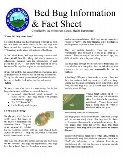 Bed Bug Information U0026 Fact Sheet   Monmouth County