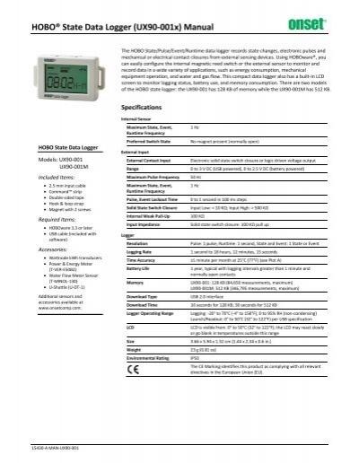 Data Logger,State,128 KB HOBO UX90-001