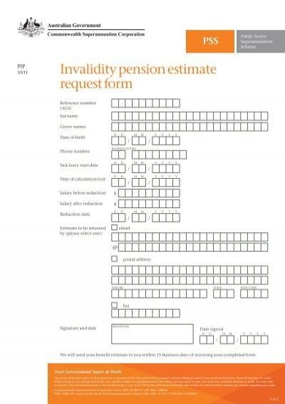 PIPPSS Invalidity pension estimate request form – Estimate Request Form