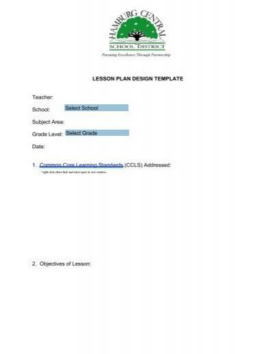 Lesson Plan Design Template Teacher School Subject Area