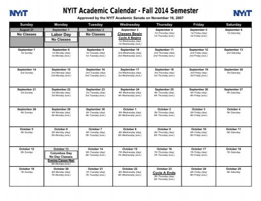 Nyit Academic Calendar Spring 2022.Nyit Academic Calendar Fall 2014 Semester