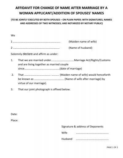 Good Faith Marriage Affidavit Letter Sample - All About Design Letter