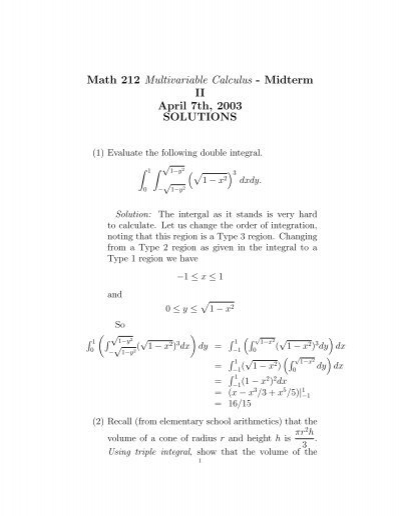 Math 212 Multivariable Calculus - Midterm II April 7th, 2003     - Usc