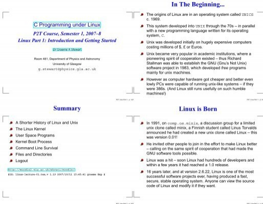 In The Beginning    Linux is Born Summary - Parent Directory