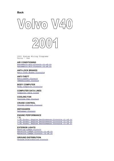 2001 System Wiring Diagrams Volvo